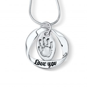 Love You Necklace with Hand or Footprint