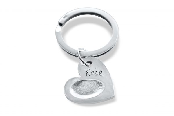 heart keyring with fingerprint