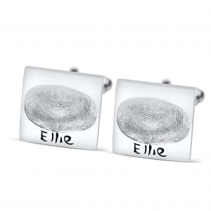 Square Cufflinks with Fingerprint
