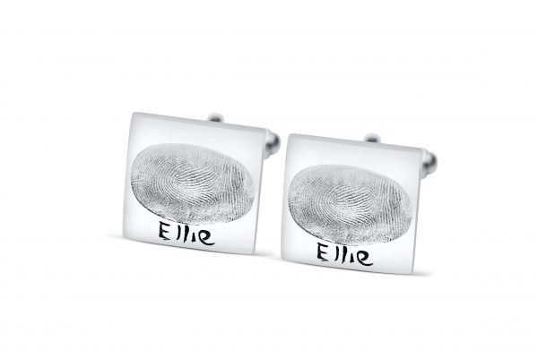 square cufflinks with fingerprint