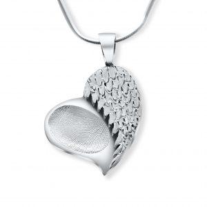 heart wing angel fingerprint pendant