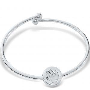 Ball end bracelet with handprint charm