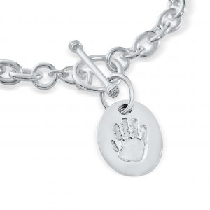 Cable Link Bracelet with Charm – Hand and Footprint