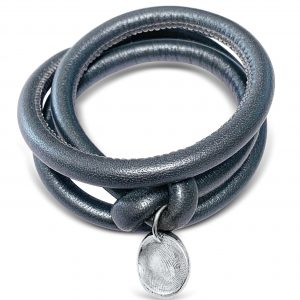 Metallic Grey Leather Wrap Bracelet