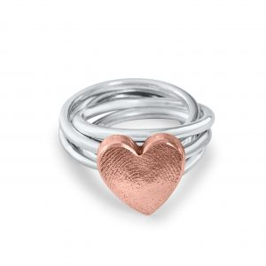 Love Heart Ring Fingerprint Copper Silver