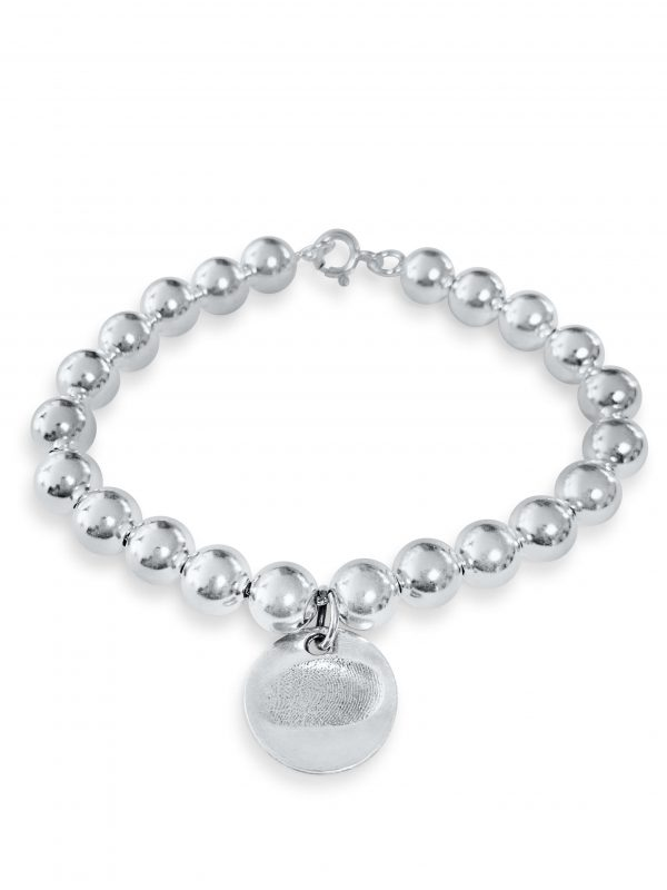 silver ball bracelet with fingerprint charm
