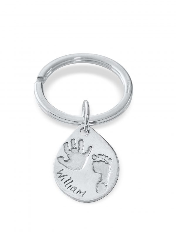 Teardrop Keyring with Handprint and Footprint