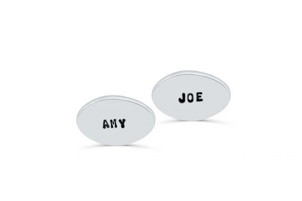 Oval Cufflinks Engraved with the Names of Loved Ones