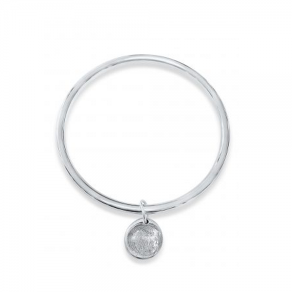 Silver Bangle with Fingerprint Charm