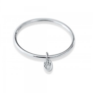 Silver Bangle with Charm – Hand and Footprint